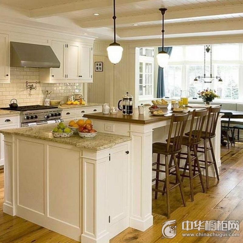 北欧风别墅厨房白色橱柜装修效果图 岛型橱柜效果图
