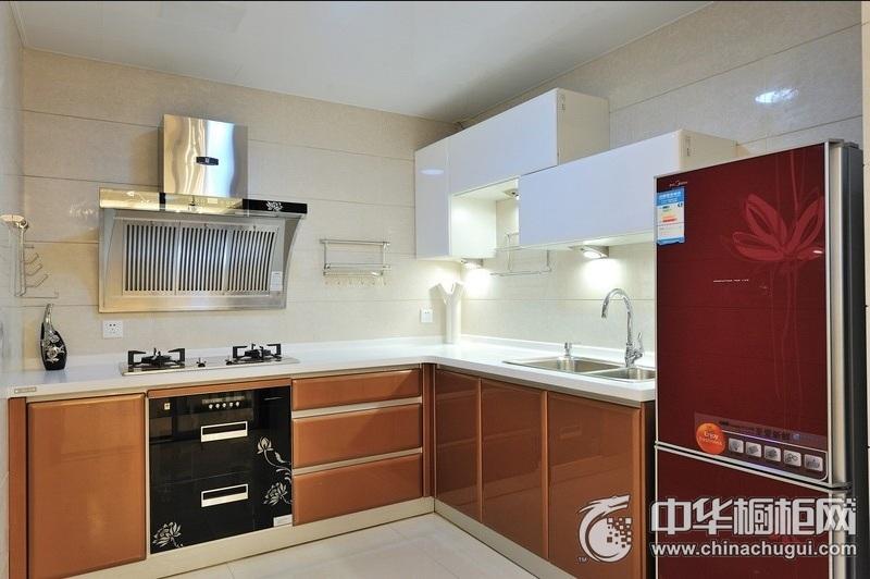现代简约风厨房烤漆橱柜设计效果图 橙色整体橱柜效果图