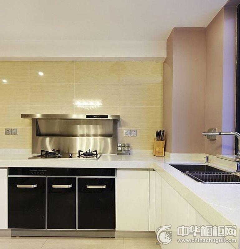 现代风黑白色调整体橱柜效果图 厨房橱柜装修效果图