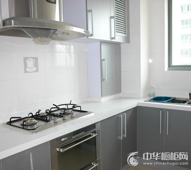 现代简约小户型灰色系整体橱柜图片 厨房橱柜装修效果图