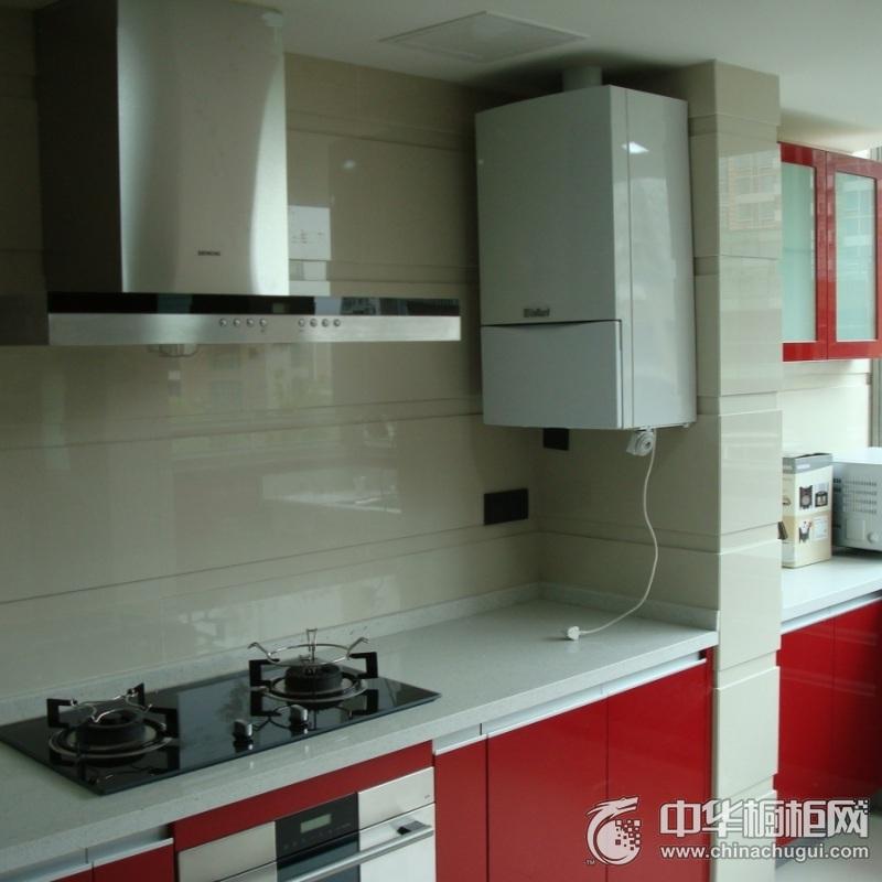 厨房红色烤漆橱柜设计图 红色整体橱柜图片
