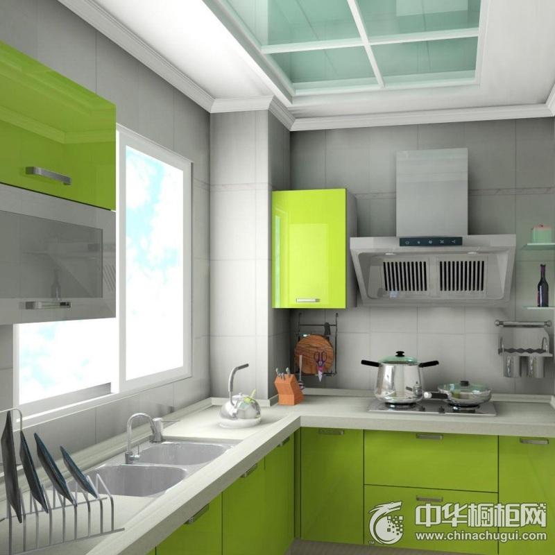 清爽简约风绿色橱柜装修效果图 绿色橱柜设计图