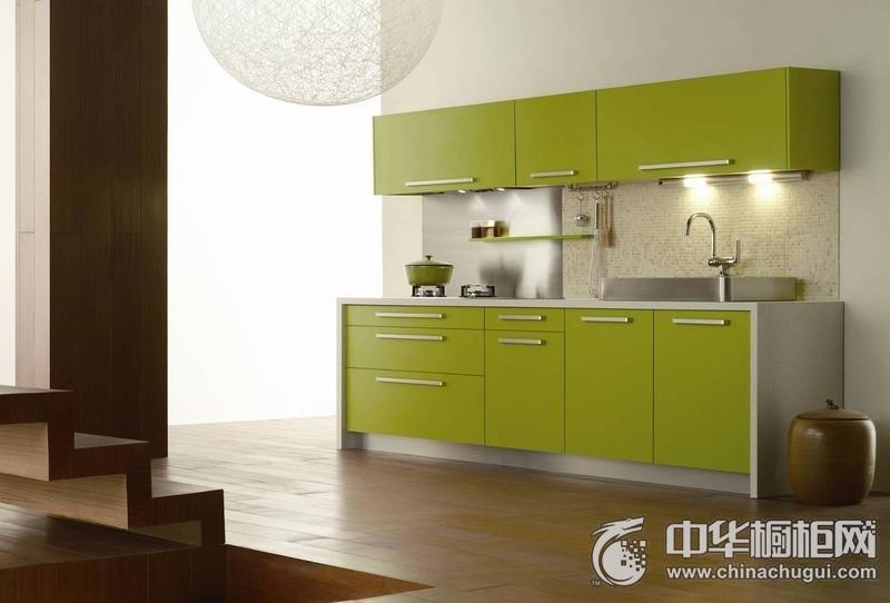 田园风厨房绿色橱柜装修效果图 一字型橱柜设计图片