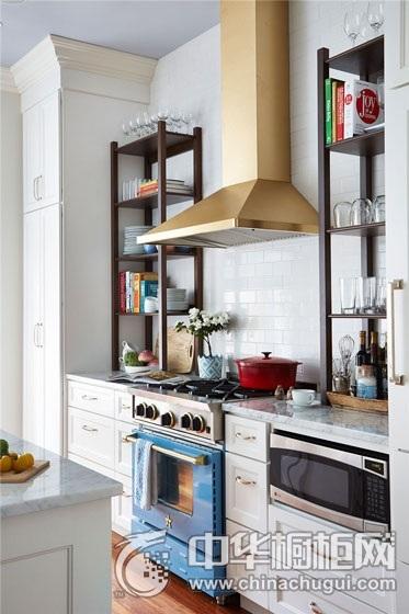 小资厨房橱柜装修实景图 田园风格整体橱柜图片