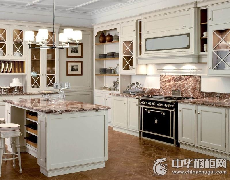 典雅美式风格实木厨房橱柜效果图 中岛台整体橱柜效果图
