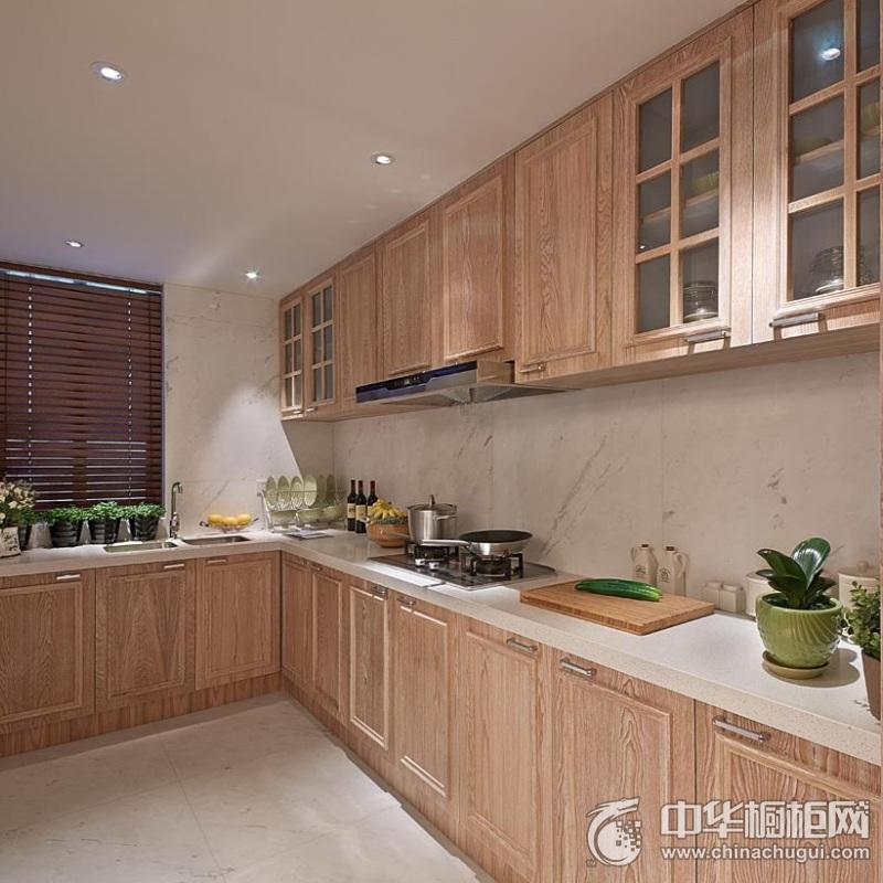 厨房整体实木橱柜装修效果图 实木橱柜设计效果图