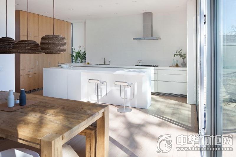 现代风格开放式餐厨区白色橱柜设计图 厨房橱柜图片