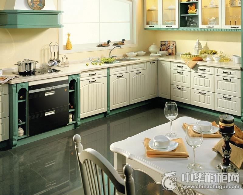 美式风格白色绿色厨房橱柜装修实景图 L型整体橱柜图片
