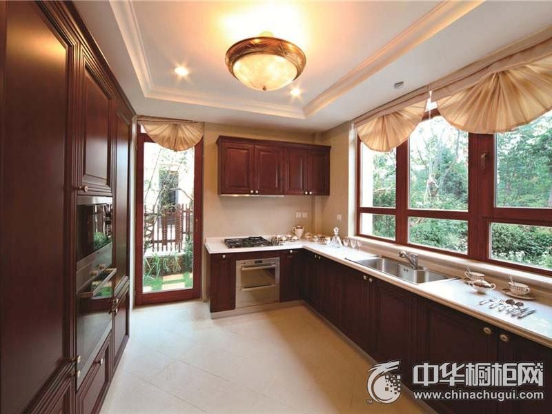大户型厨房L型整体橱柜设计图片 红色整体橱柜图片