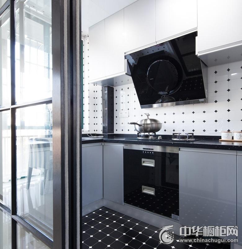 时尚现代风格厨房灰色橱柜效果图  厨房整体橱柜效果图