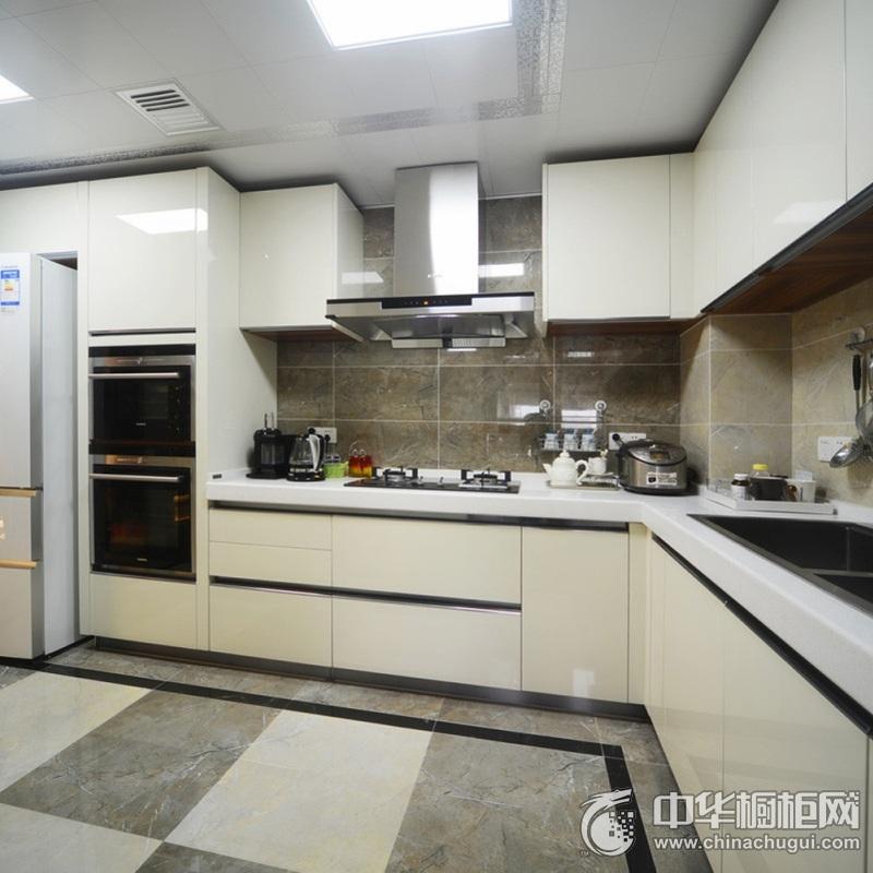 现代简约风格厨房橱柜装修设计图 L型整体橱柜图片