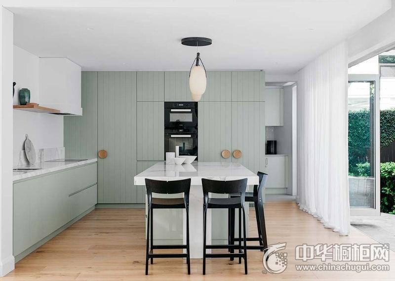 清新风格厨房薄荷绿整体橱柜效果图  薄荷绿橱柜效果图