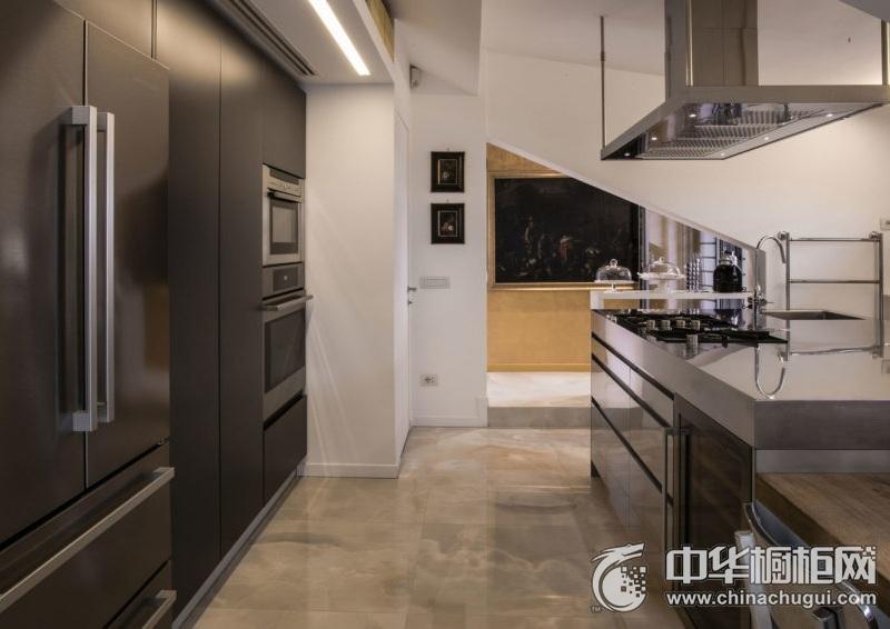 精致现代风格厨房灰色橱柜装修图片 厨房整体橱柜图片