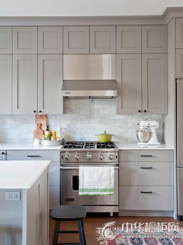 欧式风格开放式厨房灰色橱柜图片 小户型整体橱柜图片