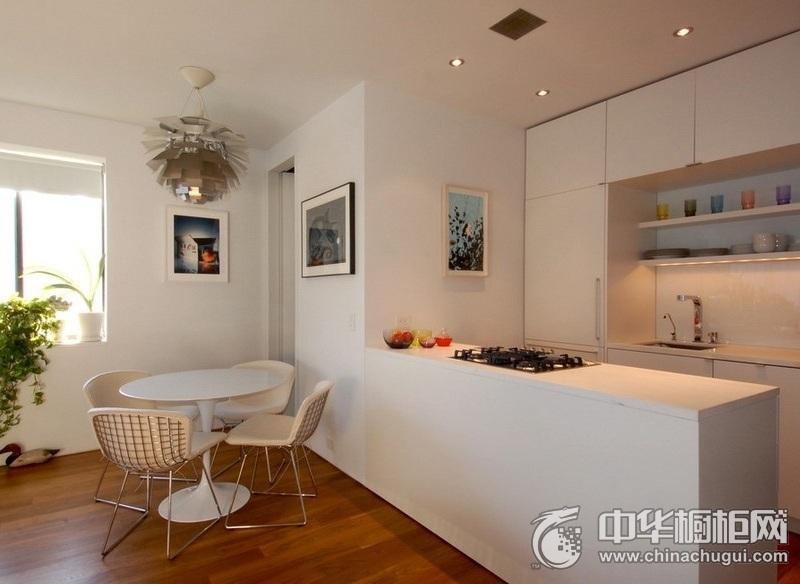 田园三居120㎡白色橱柜装修效果图 厨房整体橱柜效果图