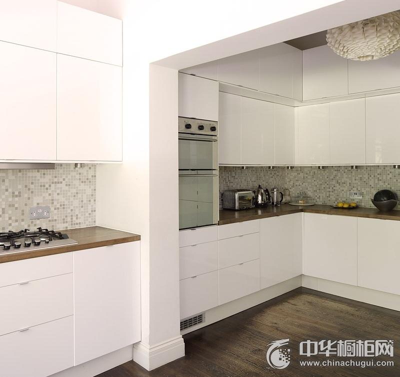 现代风格大气厨房白色橱柜效果图 大户型整体橱柜图片
