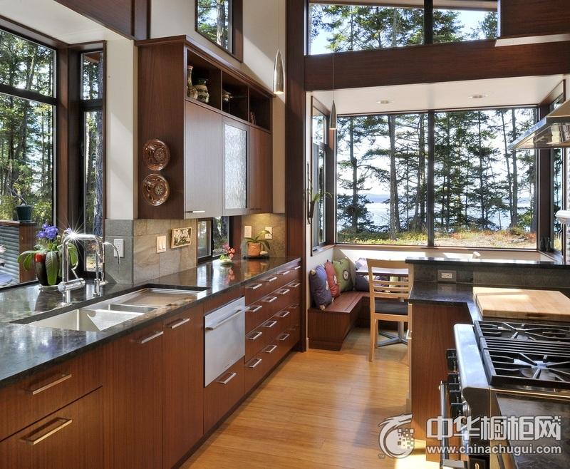 田园风格木纹整体橱柜图片 大户型厨房整体橱柜图片
