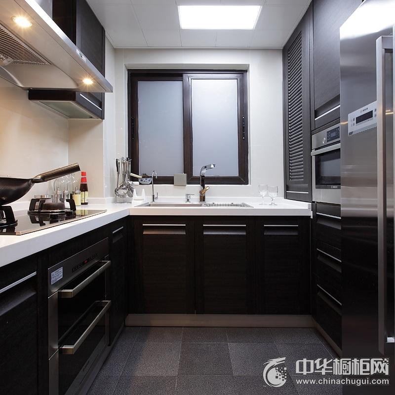 现代简约风格厨房橱柜装修实景图 L型橱柜设计效果图