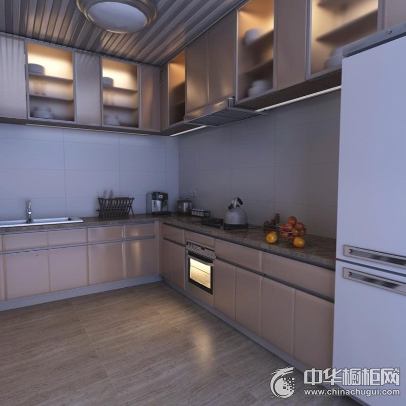 大户型厨房藕粉色整体橱柜图片 厨房整体橱柜装修图片