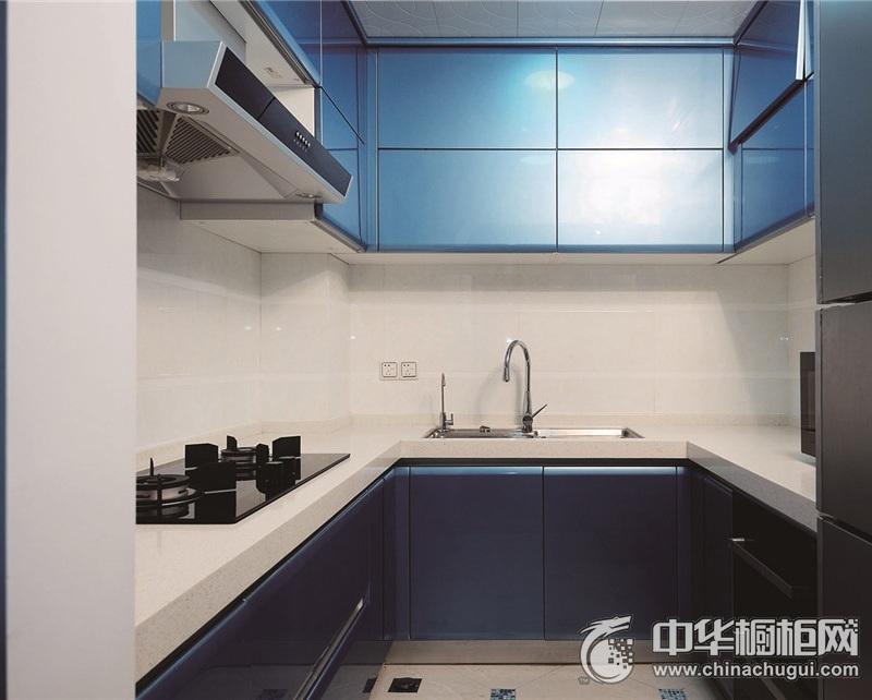 精美现代风格厨房蓝色烤漆橱柜效果图 蓝色整体橱柜效果图