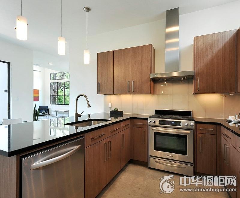 厨房U型整体橱柜装修实景图 木纹整体橱柜效果图