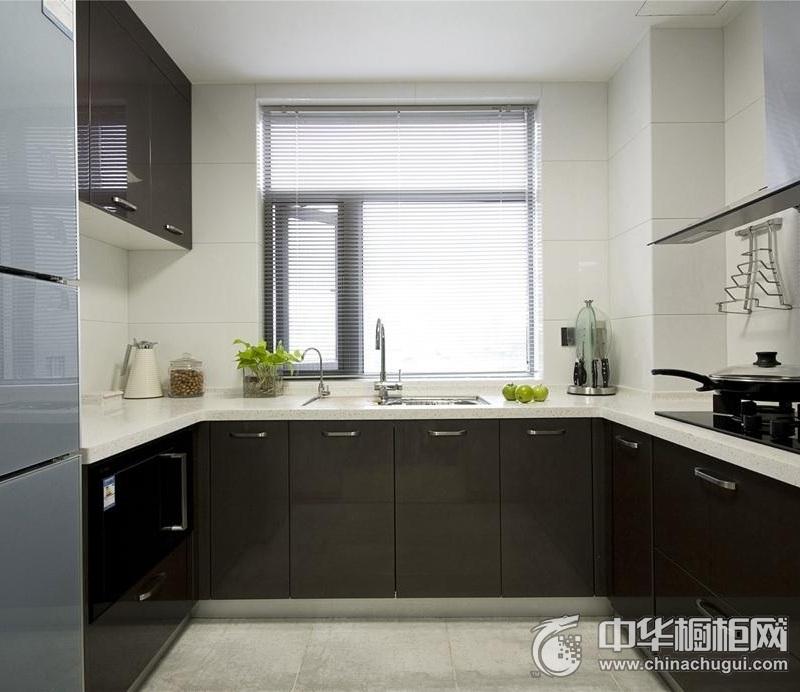 现代风格厨房黑色橱柜装修设计图 黑色橱柜图片