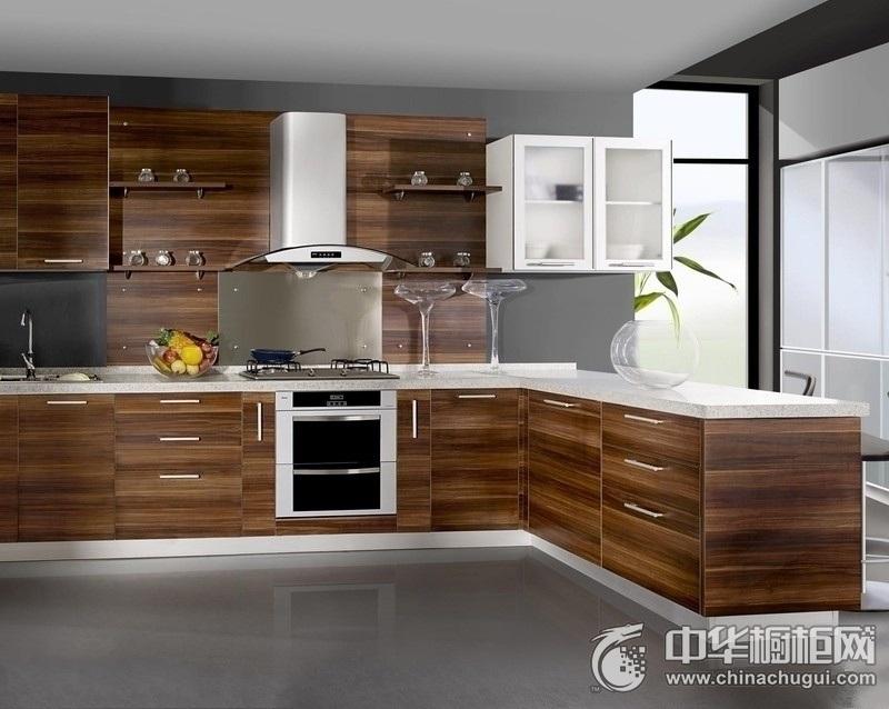 别墅厨房现代时尚整体橱柜图片 木纹橱柜效果图