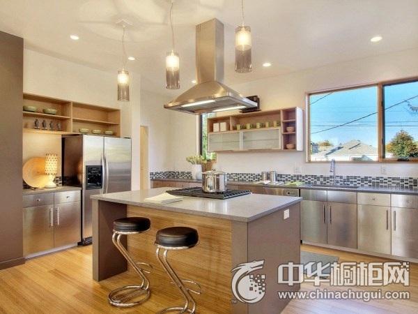 现代风厨房不锈钢烤漆橱柜装修效果图 不锈钢橱柜装修效果图