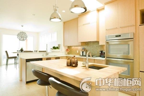 简约风格厨房实木橱柜装修效果图 整体橱柜装修效果图