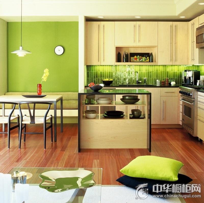 嫩绿田园风米色橱柜装修效果图 小户型整体橱柜效果图