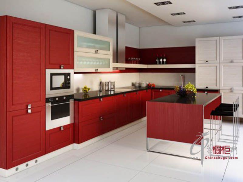 简约时尚厨房红色橱柜设计图