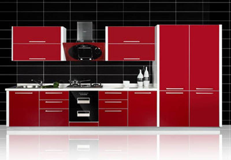 简约风红色整体橱柜设计图
