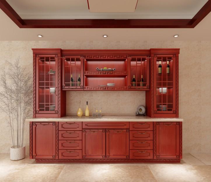 意鸿企业-实木橱柜门新品-深红色